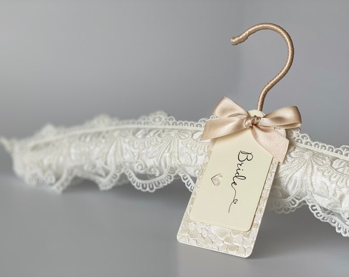 Ivory Embroidered Lace Wedding Hanger with Bespoke Label