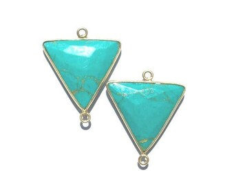 Gem Stone Pendant, turquoise pendant, turquoise earring, turquoise drop, gold pendant, gold earring, turquoise connector, gemstone earring