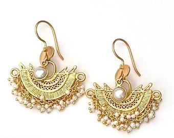 Gold Fan Earrings, Half Moon Earrings, Gold Drop Earrings, Pearl Drop Earrings
