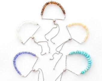 Adjustable Gemstone and Sterling Bracelet, Gemstone Jewelry, Semiprecious Bracelet, Larimar, Andalusite, Tanzanite, Opal, Moonstone