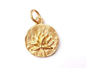 Gold Charm, Lotus Charm, Pewter Charm, Flower Charm, Gold Flower, Gold Lotus, Silver Charm, Britanium, Pewter, Yoga