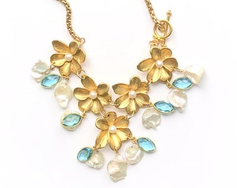 Pearl Necklace, Flower Necklace, Statement Necklace, Gold Necklace, Garden Necklace, Blue Topaz Necklace