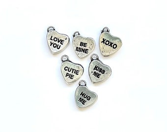 Heart Charm, Conversation Hearts, Candy Heart Charm, Silver Heart Charm, Valentine Candy Charm, Gold Heart Charm, Valentine Charm