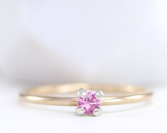 October Birthstone Ring - Stackable Rose Gold Filled Ring - Birthday Jewelry - Silver - Gift for Her - Pink - Dainty - Promise - Custom