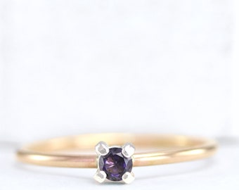 February Birthstone Ring - Birthstone Rings - Stackable Rings - Amethyst Ring - Gemstone Ring - Sterling Silver Ring - Rose Gold Filled