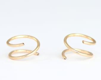 Huggie Earrings  Spirals Earrings  Small Gold Hoop Earrings 14K Gold Earrings Hug Hoops Open Hoop Silver Rose Gold Hoops Tiny Hoop Earrings