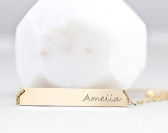 Name Plate Necklace - Custom Name Necklace Gold - Handwriting -  Personalized  Jewelry - Coordinates - Initial - Expecting New Mom Gift
