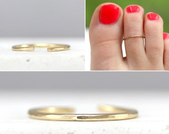 Hammered Toe Ring For Women - Sterling Silver Toe Ring - Adjustable Toe Ring - Dainty Gold Toe Ring - Gift For Her - Birthday - Jewelry