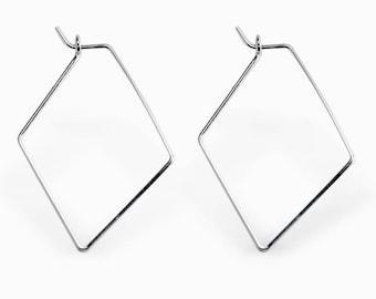 Simple Diamond Hoop Earrings - Minimalist Hoop Earrings - Silver Hoop Earrings