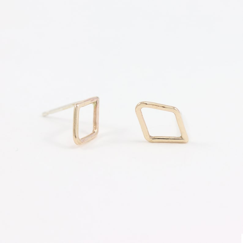 ff1dea77a Tiny Diamond Studs Diamond Shape Earrings Tiny Square | Etsy