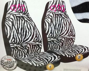 Monogrammed Zebra Print Car Seat Covers