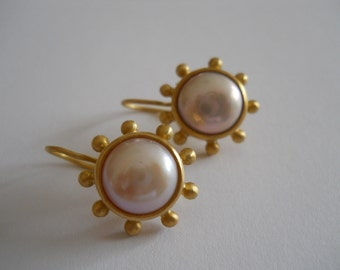 Sold 22K Gold and Pearl Earrings