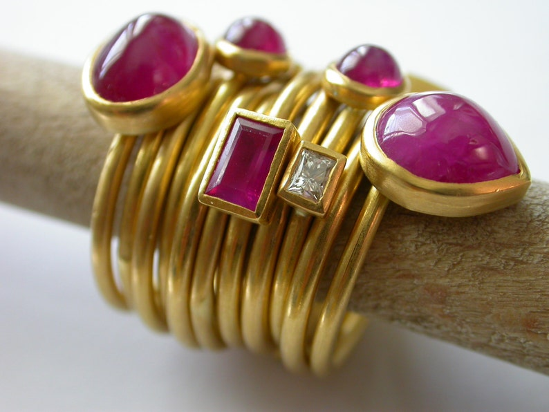Made to Custom Order  22k Gold Ruby and Diamond Set of image 0