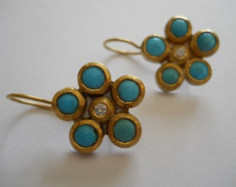 Turquoise and Diamond Earring in 22K/Fine Silver