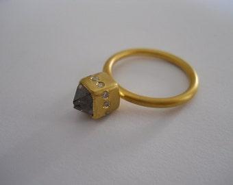 Stunning Brown Octahedral Diamond and White Diamond  22K Gold Ring