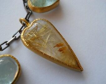 Rutiled Quartz Heart Pendant in 22K Gold on Oxidised Silver Chain