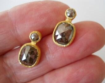 22K Brown Rose Cut Diamond Stud Earrings