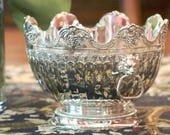 Silver Plate Monteith Bowl - Lion Head Door Knocker Style Handles - Scalloped edge - Fluted with a Pedestal Base