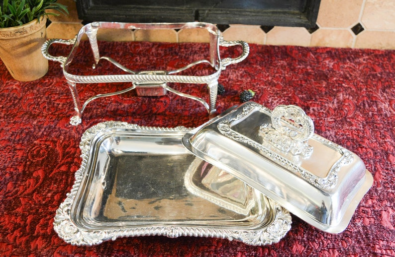Thomas Wilkinson & Sons Silver Plate Entree Chafing Dish - Covered Entree  Dish - Water Pan - Warming Stand- Chafing Burner - Figural Feet