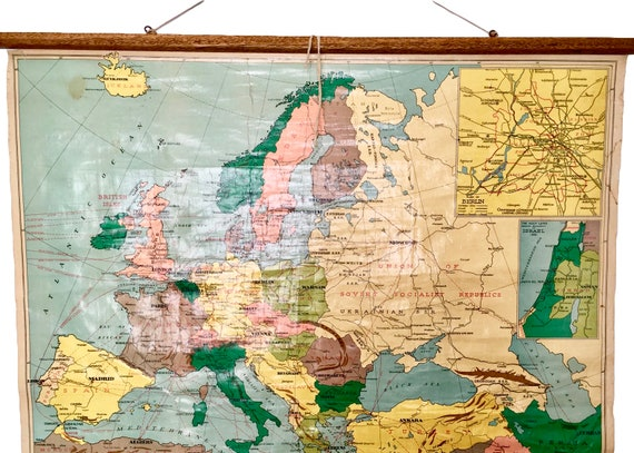 Map Of Europe 1950s.Vintage 1950s School Map Of Europe And The Mediterranean Sea Etsy