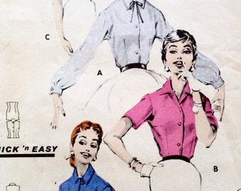 Vintage 1950s Paper Pattern, Butterick Quick N' Easy, Bust 32, Size 12, No 7886, Sewing Pattern, Designed in New York, Made in Australia
