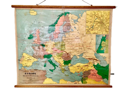 Vintage 1950s School Map of Europe and The Mediterranean Sea, Published by  Chas H. Scally, NSW, Australia, Mid Century, Retro Cartography