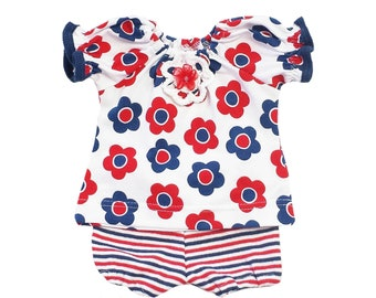 Red, White and Blue Floral Peasant Top and Bloomer Set
