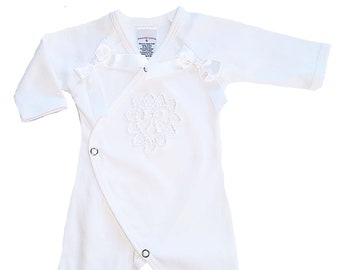 Preemie-Yums White Long Sleeve Snap Coverall