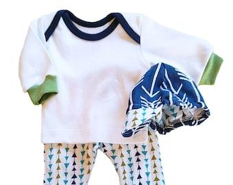 Muslin Pant, Knit Longjohn Shirt and Cap