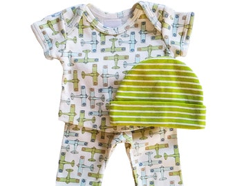 Preemie-Yums Vintage Planes Longjohns and Hat