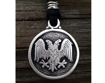 TC121.0620P - Double Headed Eagle Pendant in Pewter