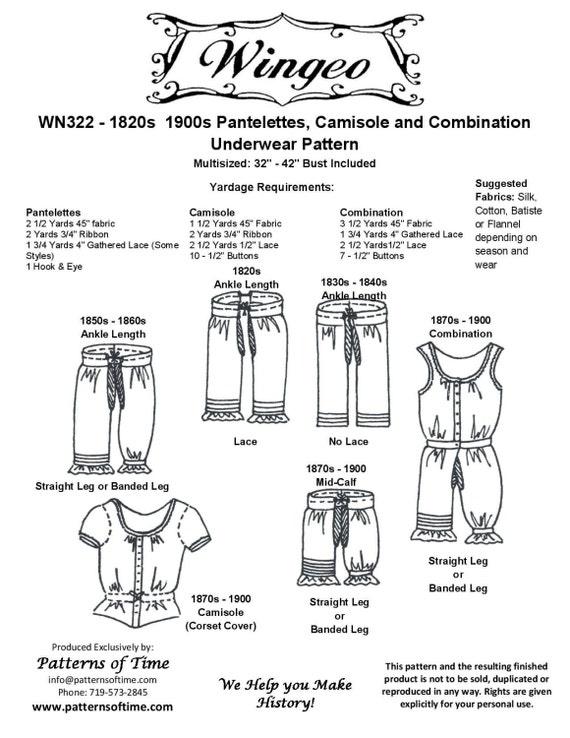 WN322 Pantilettes victoriano/Edwardian Era camisola y | Etsy
