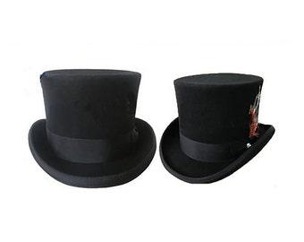STTHBA - Black Wool Felt Top Hat in sizes 55-61cm circumference.