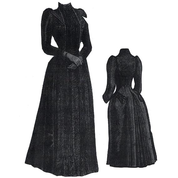 AG1805 1889 Henrietta Tuch und Krepp Trauer Kleid | Etsy