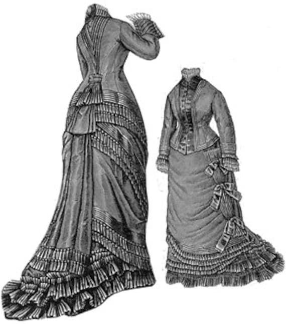AG1688 1876 Tuch Seide & russische Kleid Schnittmuster durch   Etsy