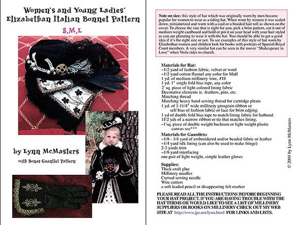 56a409d0c5a MC05 Women s Elizabethan Italian Bonnet and Gauntlets