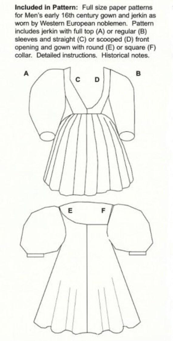 RC604 traje costura patrón de primeros Tudor hombre Noble | Etsy