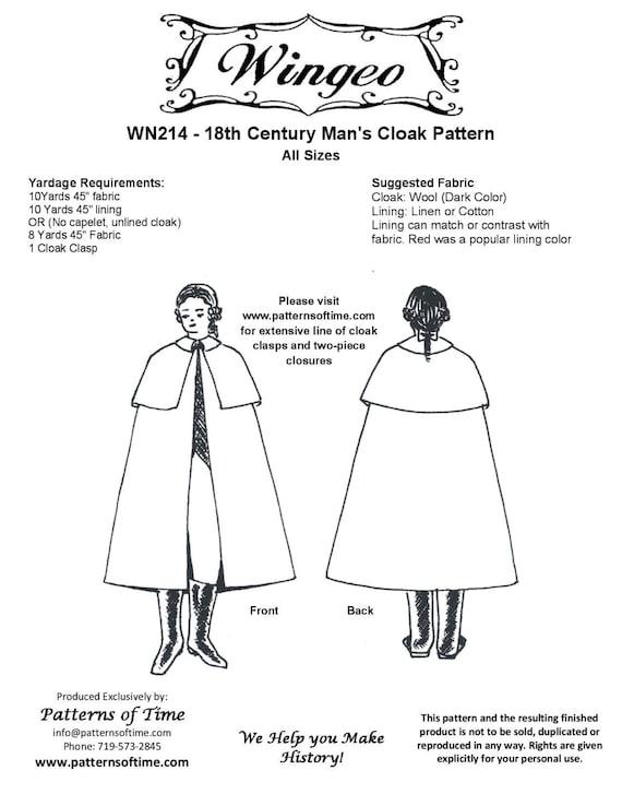 WN214 18. Jahrhundert Herren Mantel Schnittmuster von Wingeo | Etsy