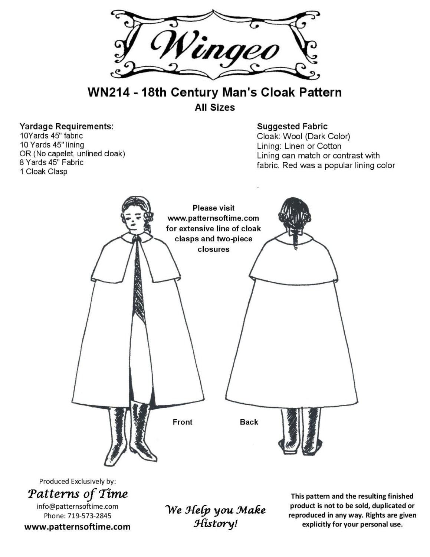WN214 18. Jahrhundert Herren Mantel Schnittmuster von Wingeo