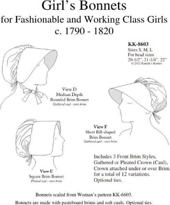 KK8603 bonetes 1790-1820 niñas costura patrón por Korner de | Etsy