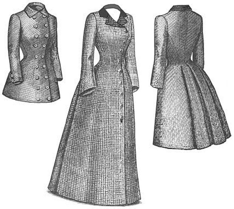 Victorian Dresses, Clothing: Patterns, Costumes, Custom Dresses 1880s Late Bustle Coat Pattern $25.93 AT vintagedancer.com