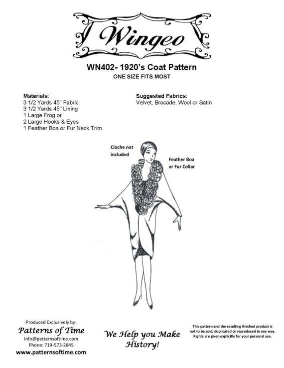 WN402 20er Jahre Mantel Schnittmuster von Wingeo | Etsy