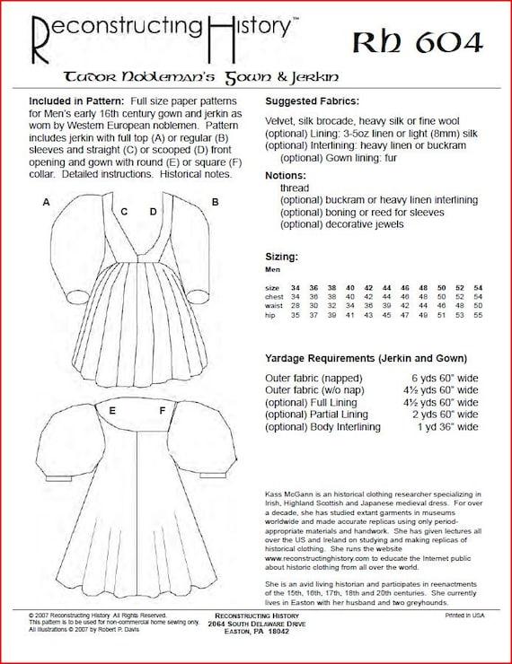 RC604 traje costura patrón de primeros Tudor hombre Noble   Etsy