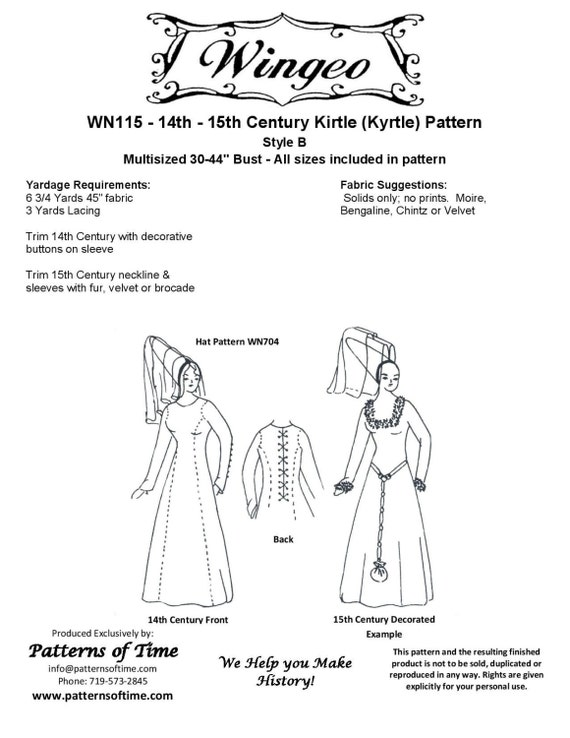 WN115 Medieval Kirtle Kyrtle Sewing Pattern by Wingeo | Etsy