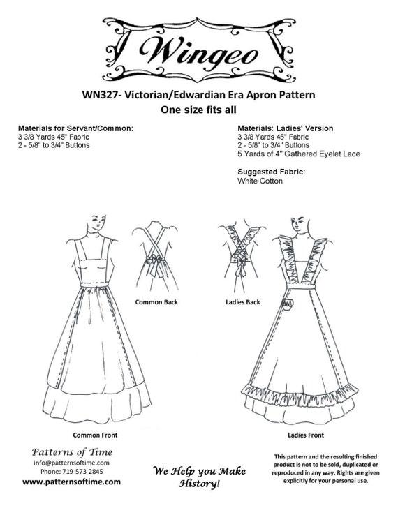 WN327 victoriano/Edwardian delantal costura patrón por | Etsy