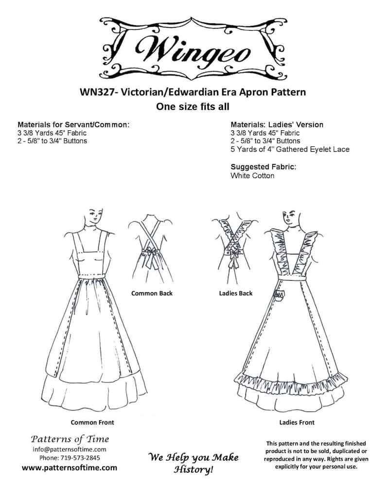 Vintage Aprons, Retro Aprons, Old Fashioned Aprons & Patterns WN327 - Victorian/Edwardian Apron Sewing Pattern by Wingeo $10.95 AT vintagedancer.com
