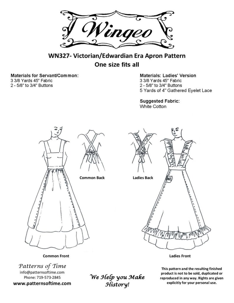 Victorian Edwardian Apron, Maid Costume & Patterns WN327 - Victorian/Edwardian Apron Sewing Pattern by Wingeo $10.95 AT vintagedancer.com