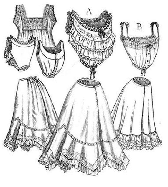 TVE02 1901-1909 Edwardian ropa interior costura patrón por | Etsy