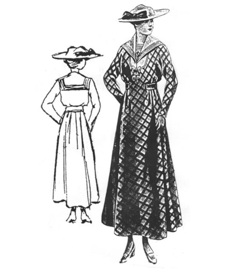 Edwardian Sewing Patterns- Dresses, Skirts, Blouses, Costumes     AG2004 -  1915 Checked Dress w/Sailor Collar Sewing Pattern by Ageless Patterns $18.18 AT vintagedancer.com