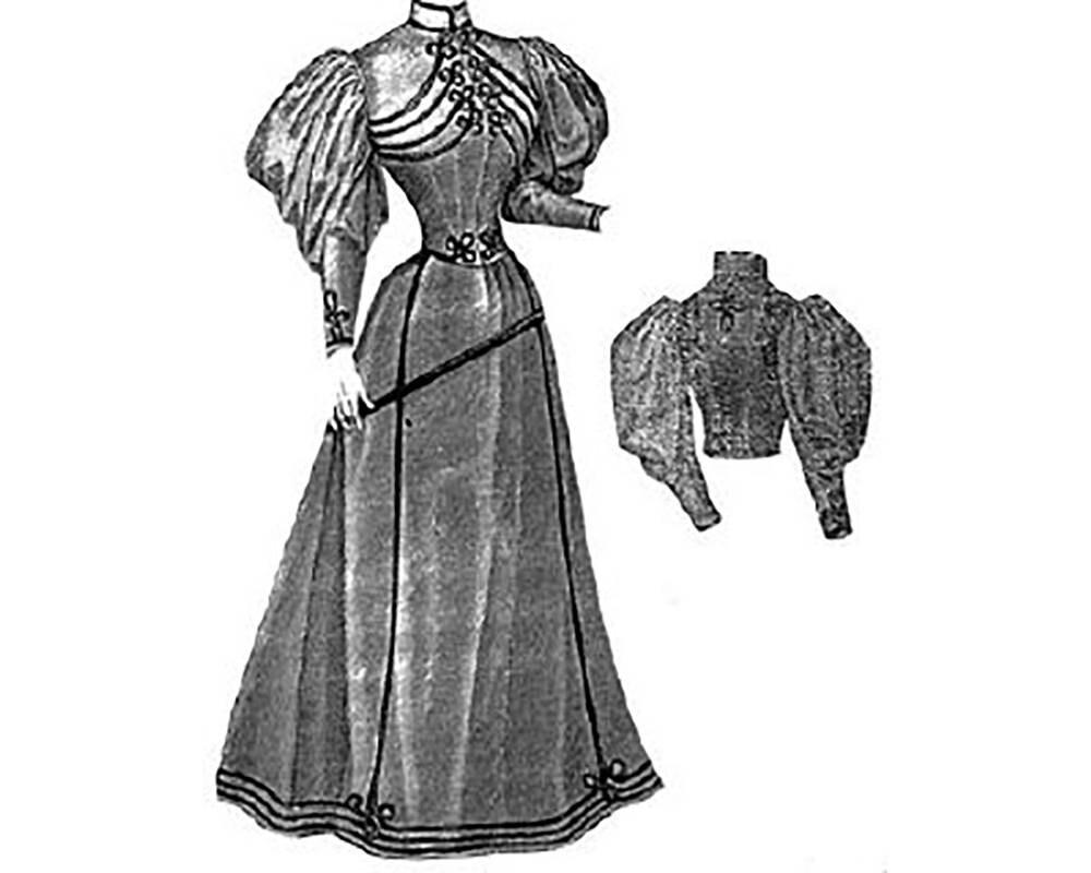 AG1066 vestido sastre de 1894 con militares del trenzado del | Etsy